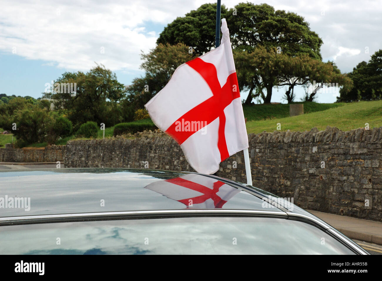 English flag on automobile Stock Photo