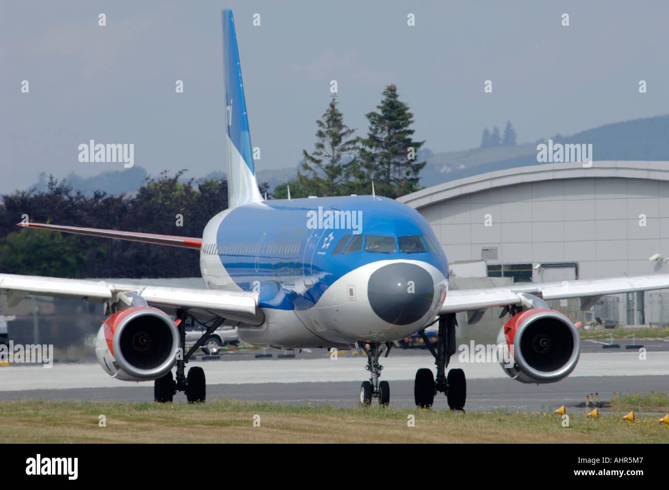 British Midland Boeing Airbus 319 Civil Passenger Airliner.  G-DBCD Inverness  Airport - Stock Image
