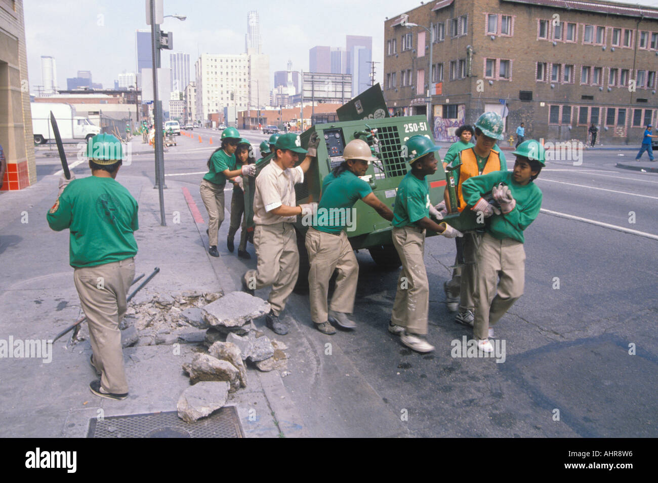 Urban cleanup crew in Los Angeles on Earth Day - Stock Image