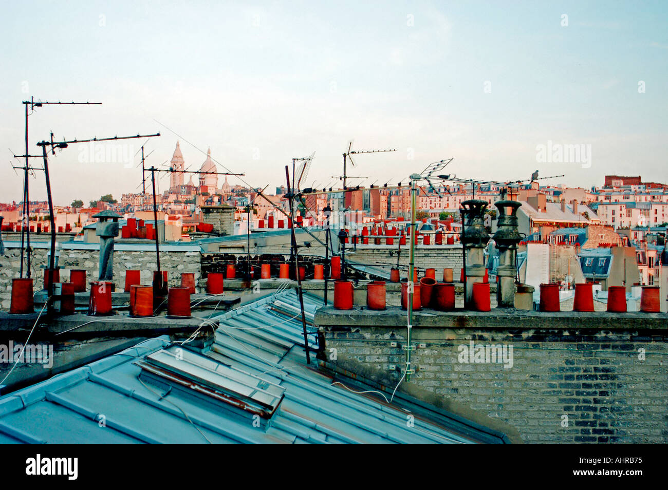 PARIS France, Overview of City, Skyline, Cityscape Looking to 'Sacre Coeur Church' with Parisian Rooftops TV Antennas - Stock Image