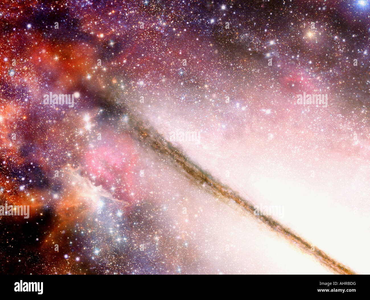 Very fascinating illustration of a spectacular vision inside spiral galaxy - Stock Image