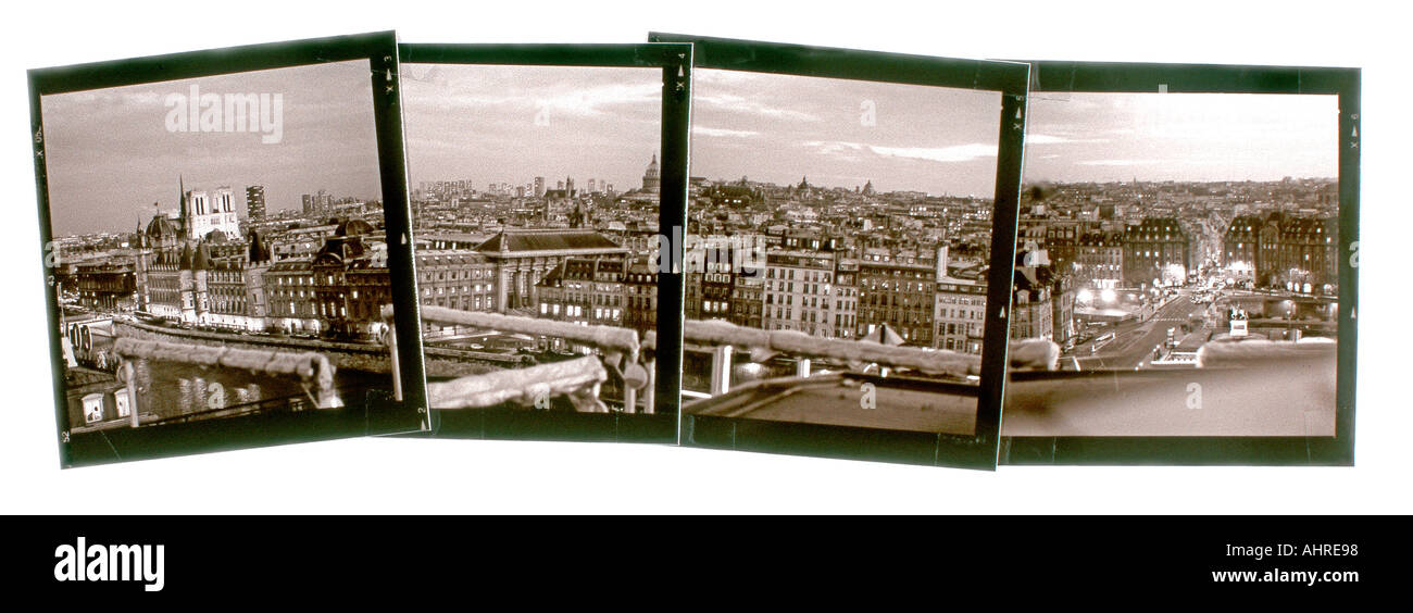 """Arranged Montage """"PARIS France"""", Overview Panoramic Scene cityscape at Night With """"Seine River"""" Photos Stock Photo"""