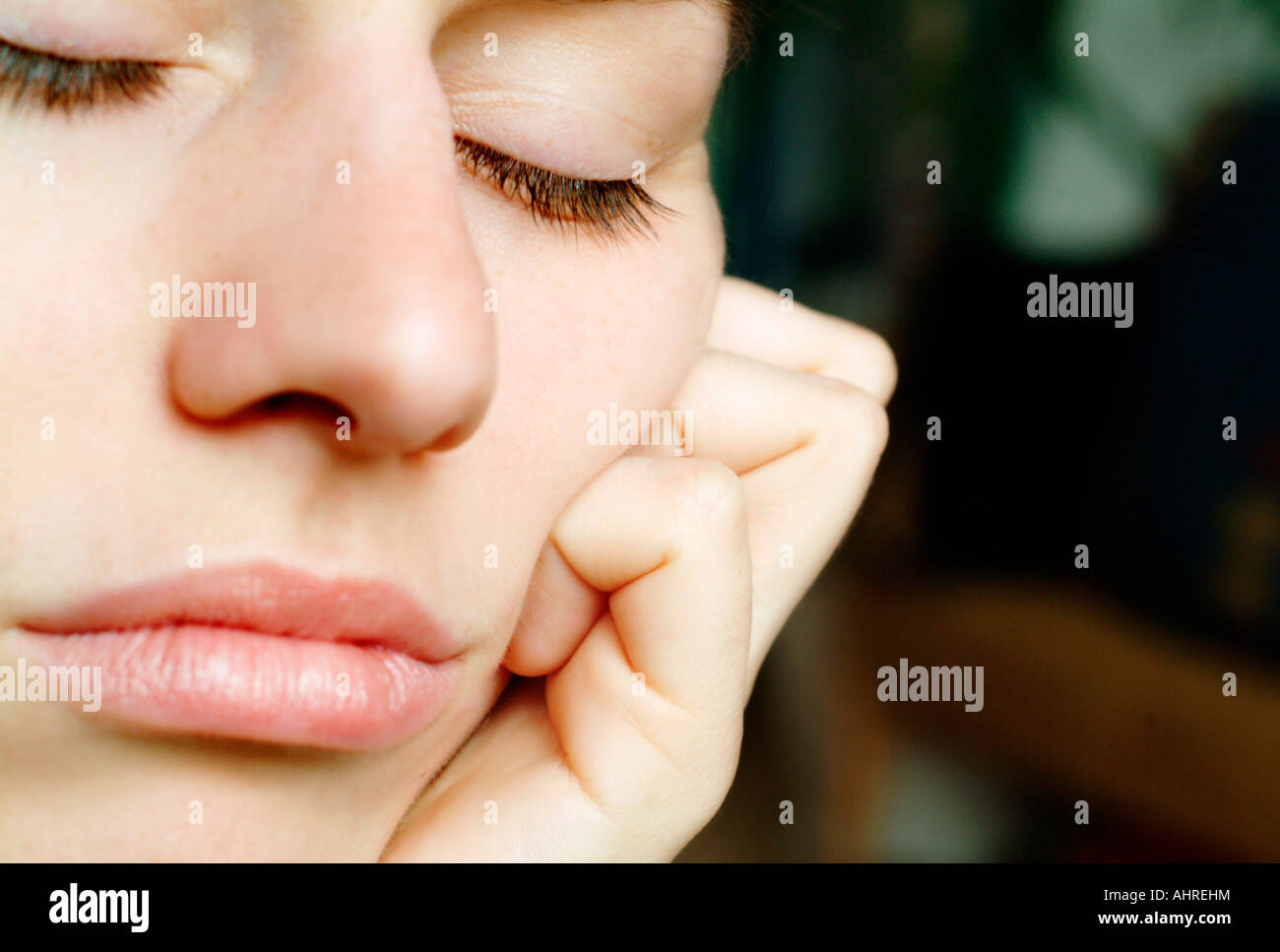 Face of a young woman - Stock Image