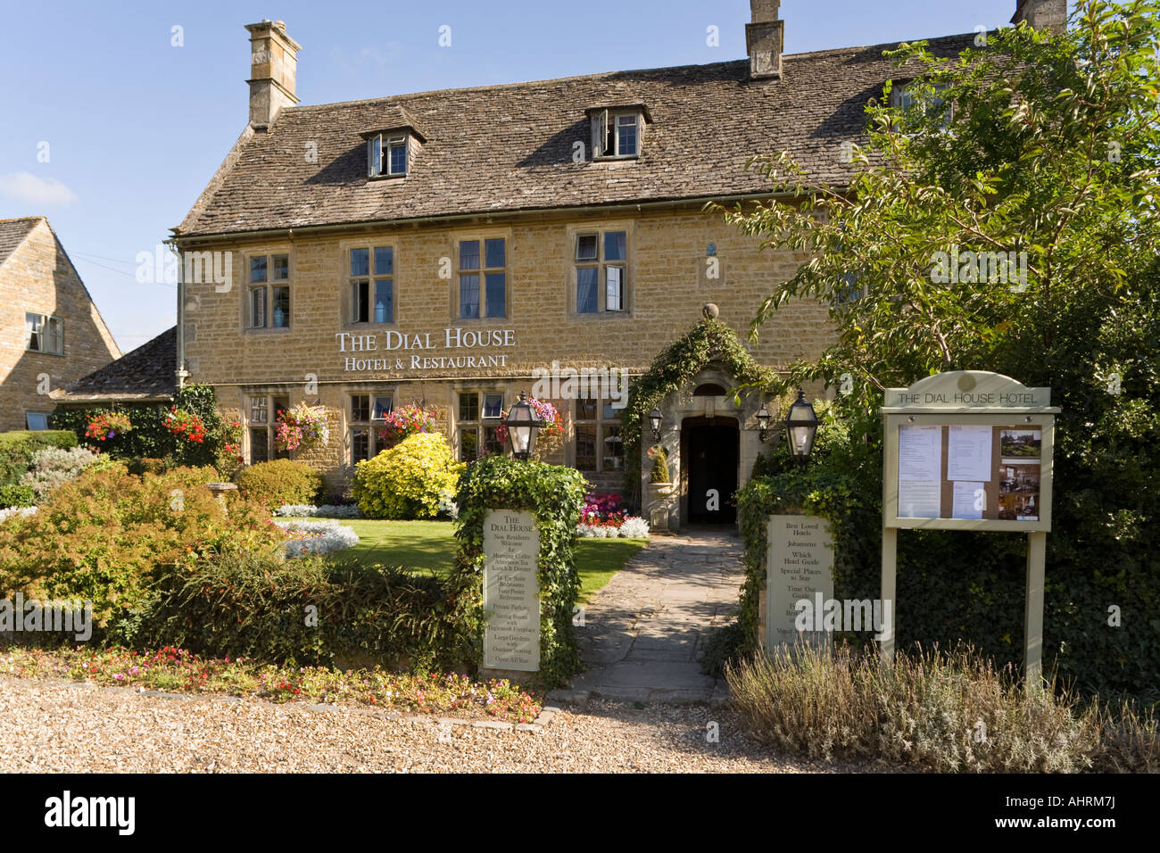 The Dial House Hotel Restaurant in the Cotswold village of Bourton on the Water, Gloucestershire - Stock Image
