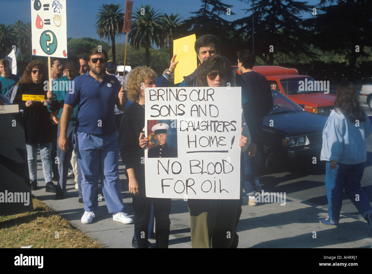 Americans protesting war in Middle East Los Angeles California Stock Photo