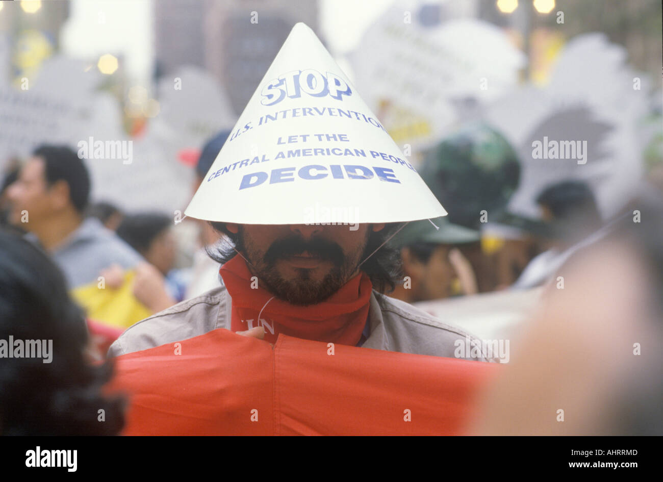 Protesting U S intervention in Central America Los Angeles California Stock Photo