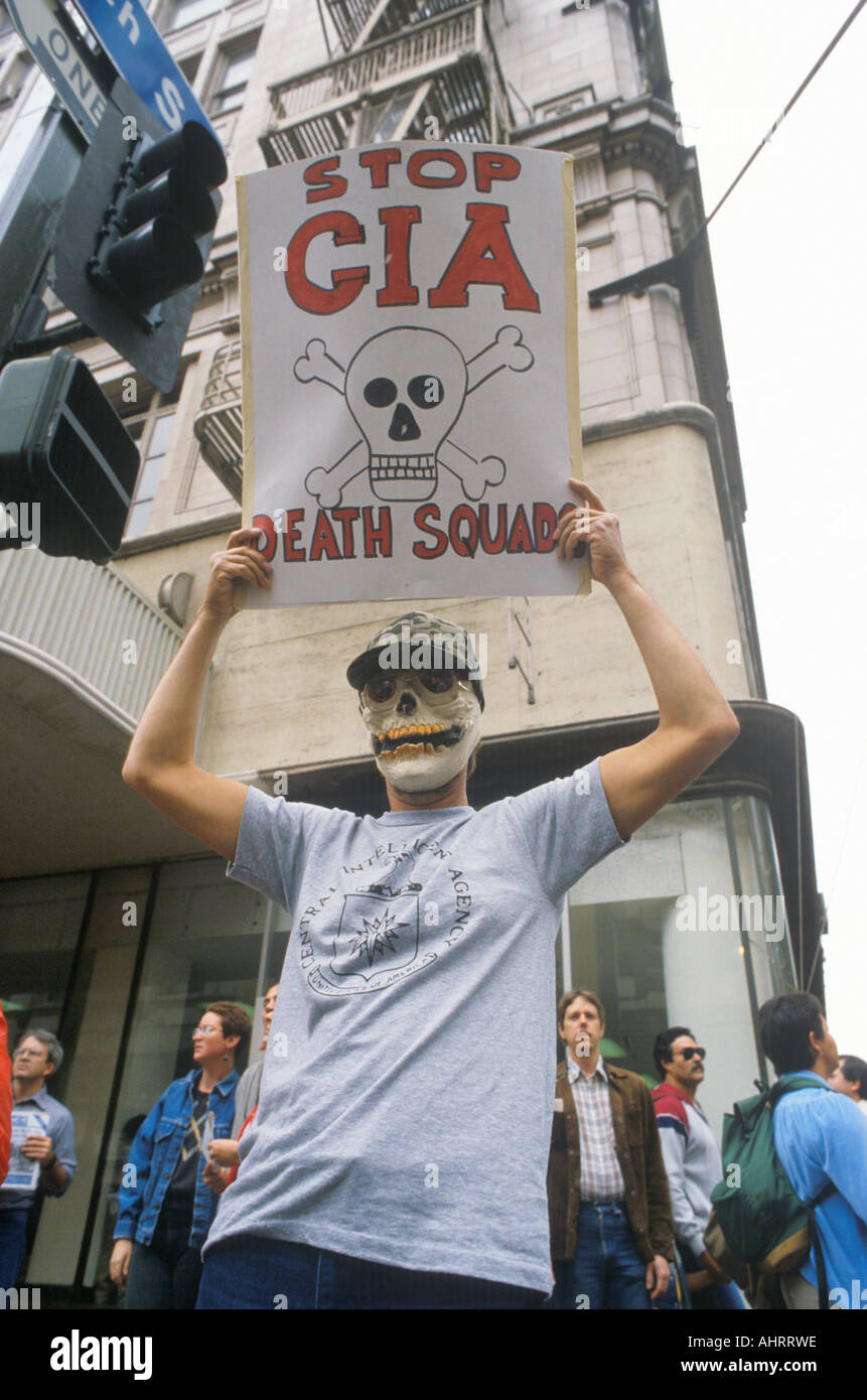 Protester wearing skeleton mask protesting CIA Los Angeles California Stock Photo