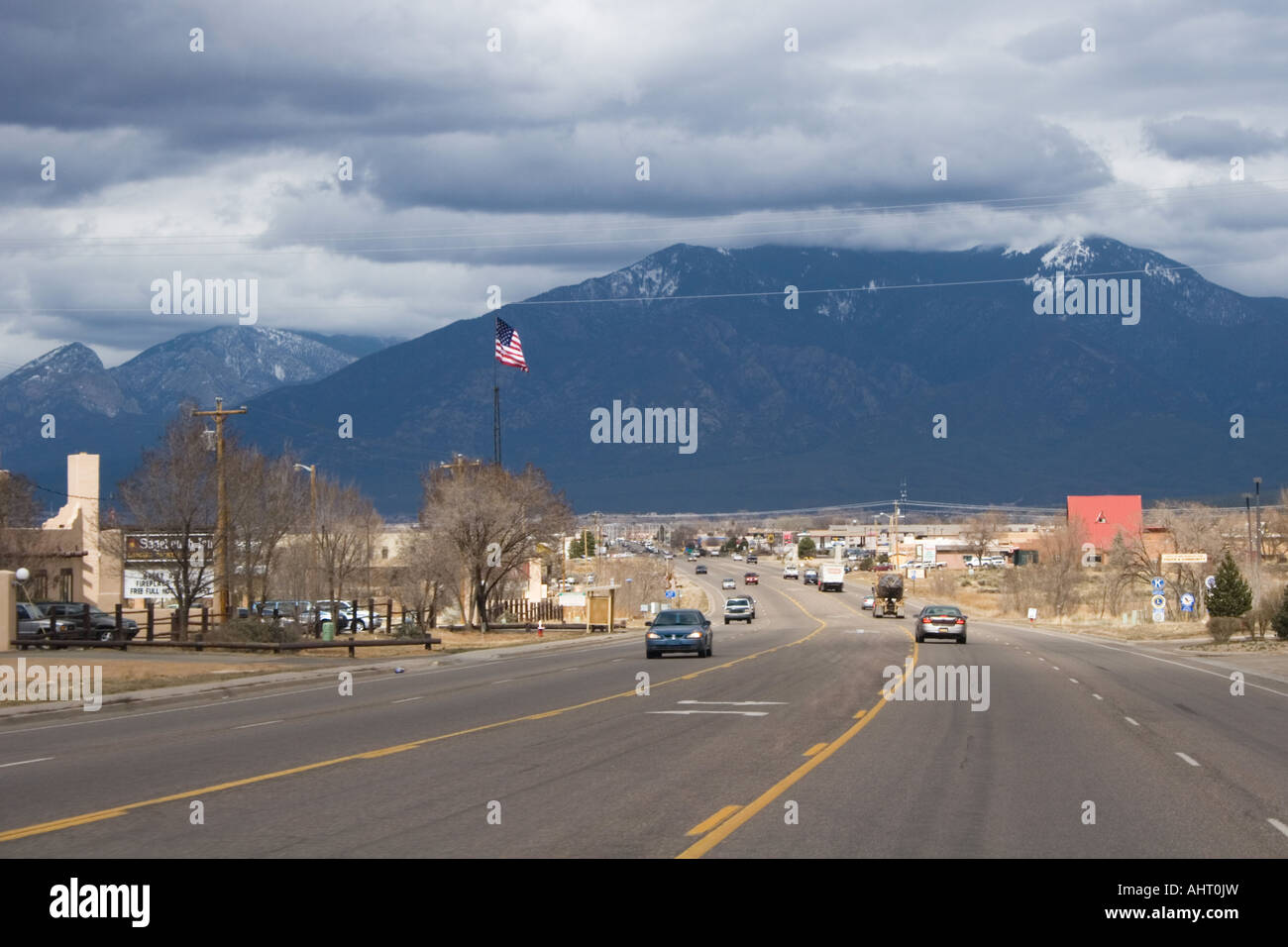 The road in to Taos Stock Photo