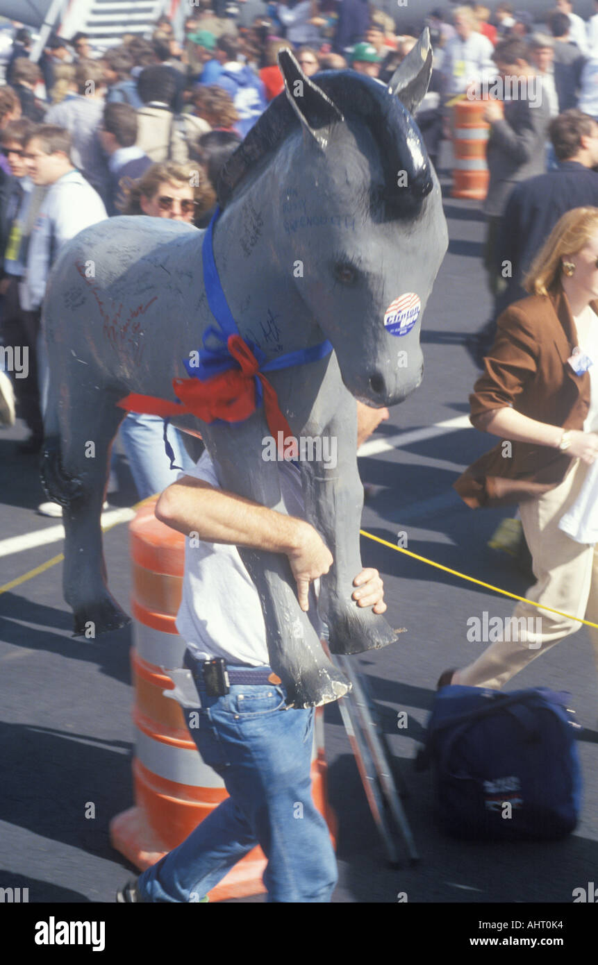 Clinton supporter carries Democratic Donkey through the crowd at a Little Rock campaign rally in 1992 on final day of - Stock Image
