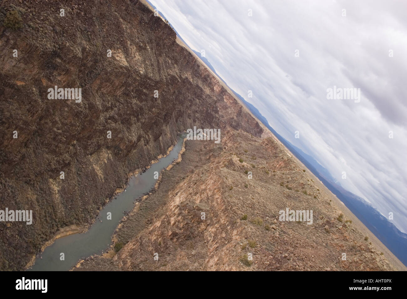 A river winding down a canyon Stock Photo