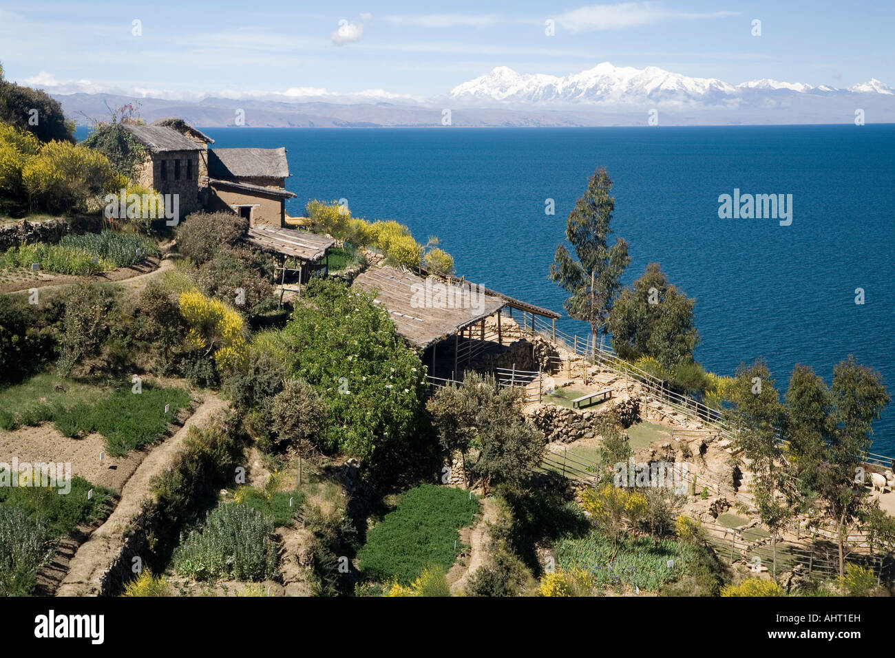 View over the lake to Cordillera Real and Mount Illampu - Stock Image