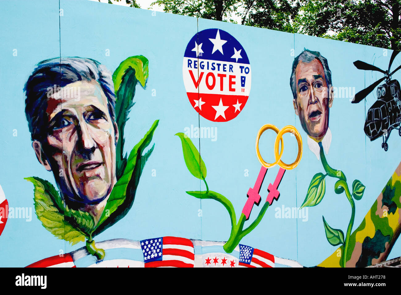 Kerry and Bush presidential candidates Street art on Millennium Park construction wall. Chicago Illinois IL USA - Stock Image