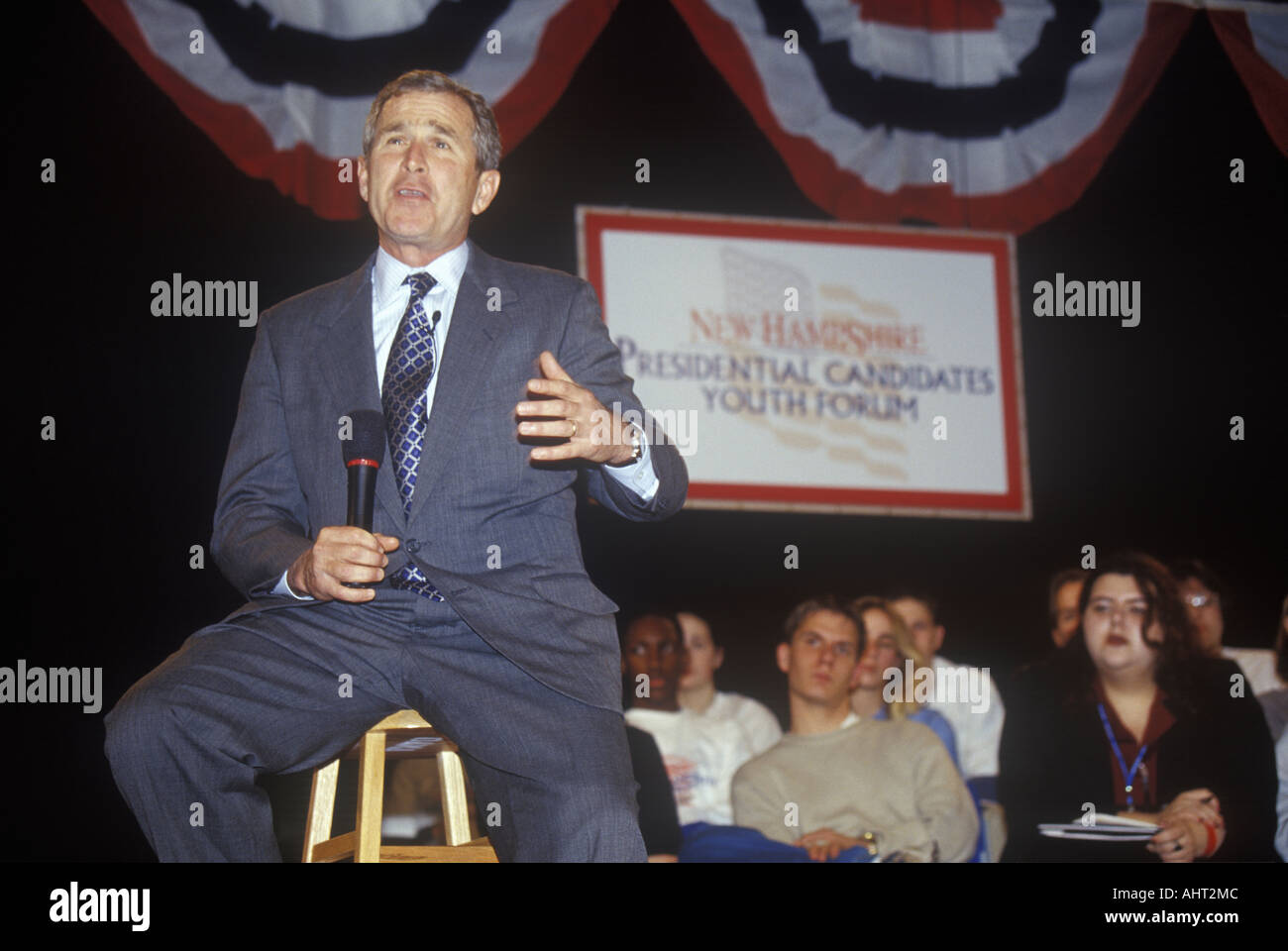 George W Bush addressing the New Hampshire Presidential Candidates Youth Forum January 2000 Stock Photo