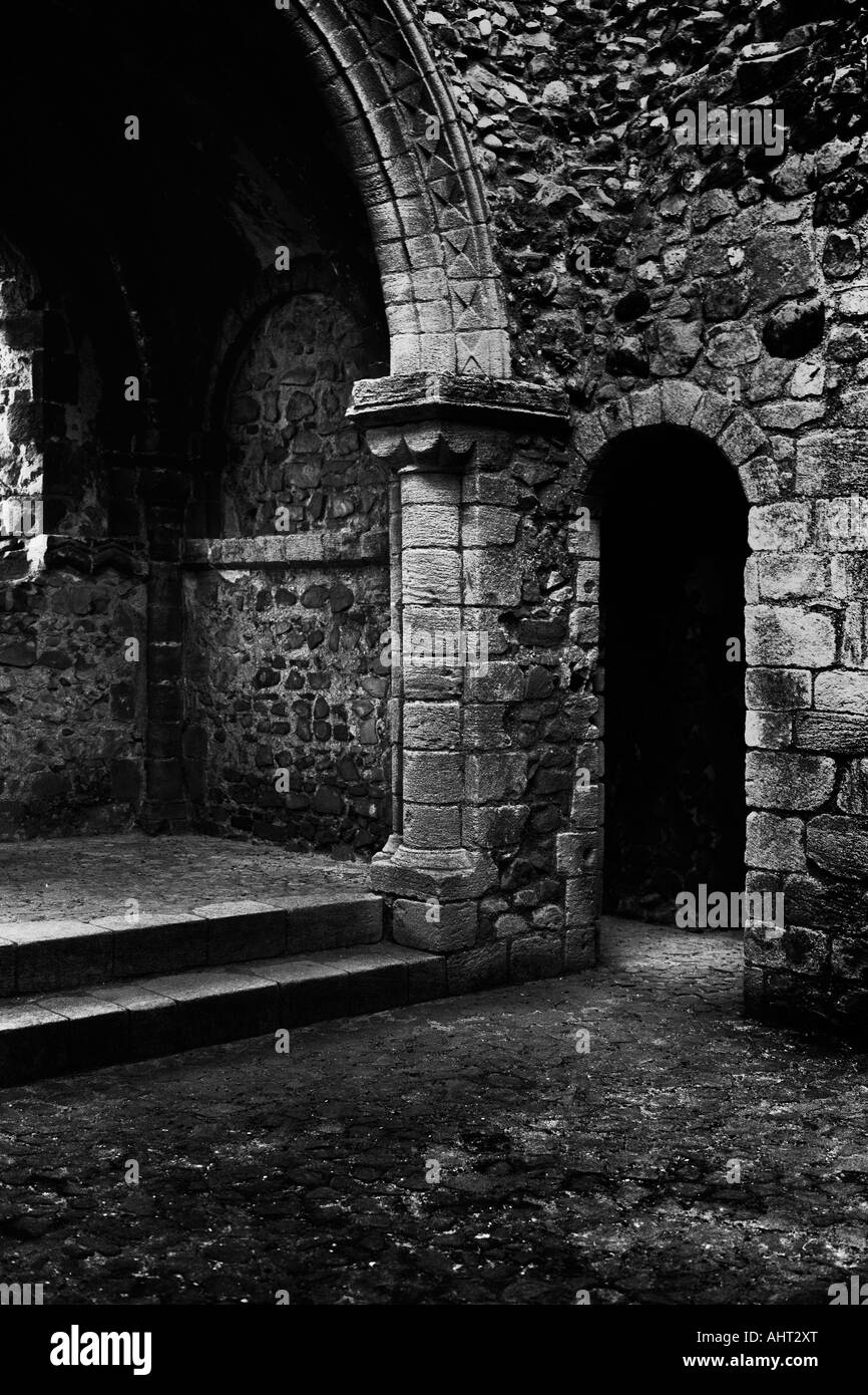 12th century castle interior doorway arch and steps