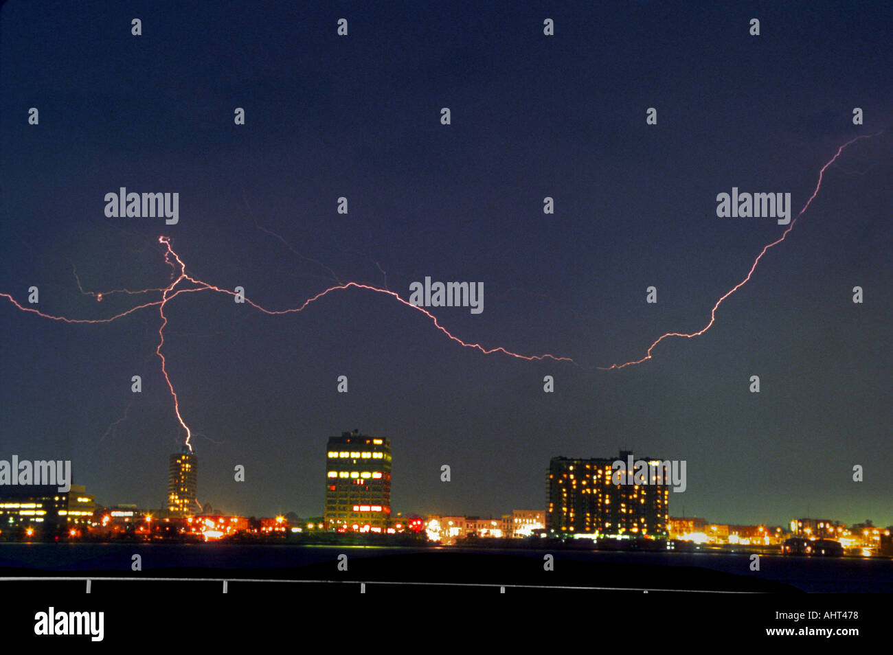 Rain and lightening bolts over St Petersburg Florida - Stock Image