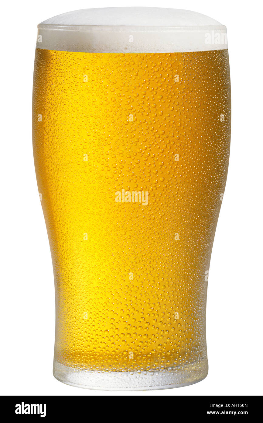 Glass of chilled lager - Stock Image