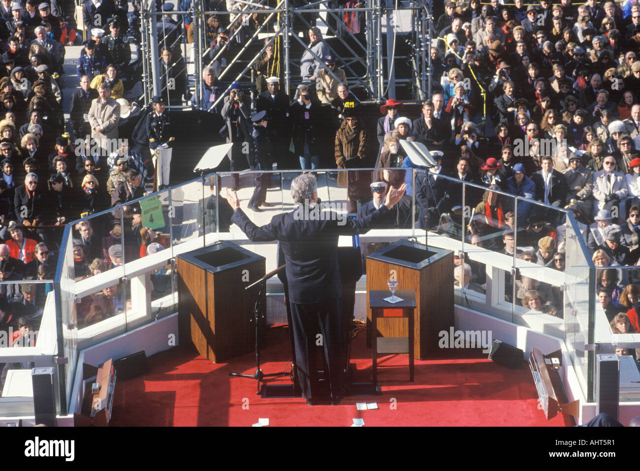 Bill Clinton 42nd President gives Inaugural Address on Inauguration Day 1993 Washington DC - Stock Image
