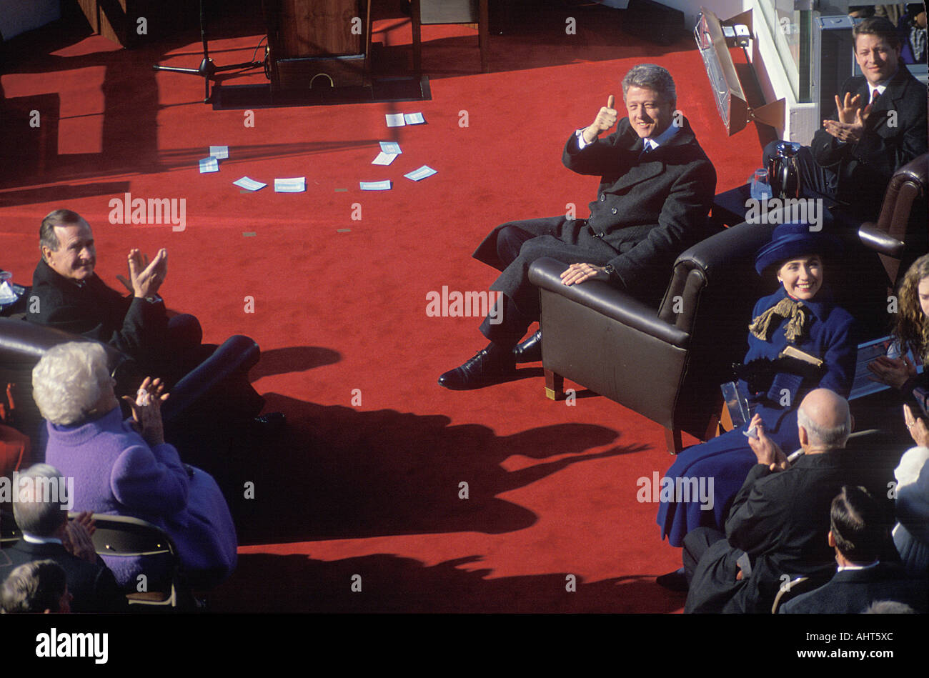 Bill Clinton 42nd President gives the thumbs up on Inauguration Day 1993 Washington DC Stock Photo