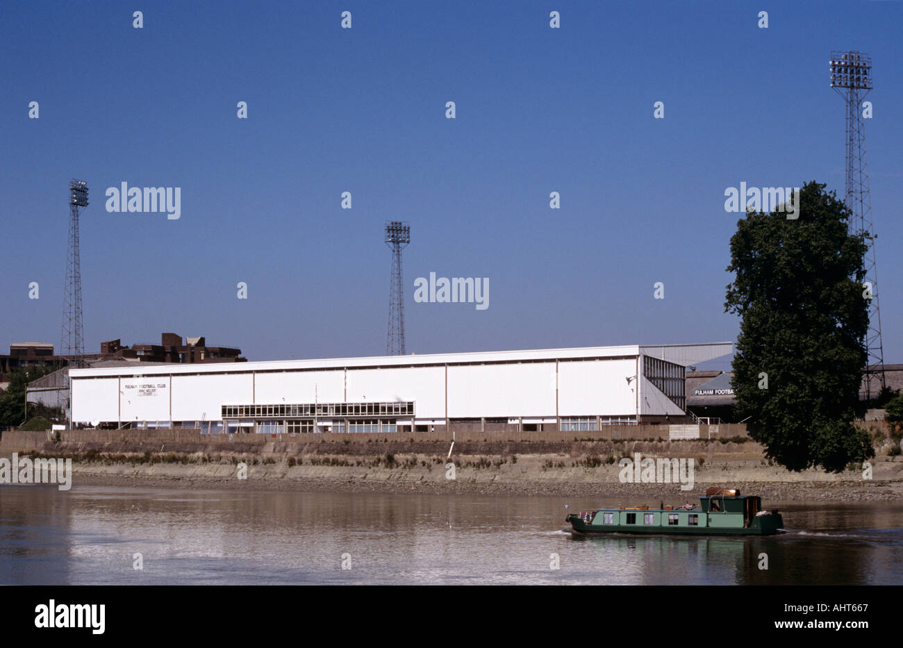 Fulham Football Club s ground at Craven Cottage on River Thames LONDON - Stock Image