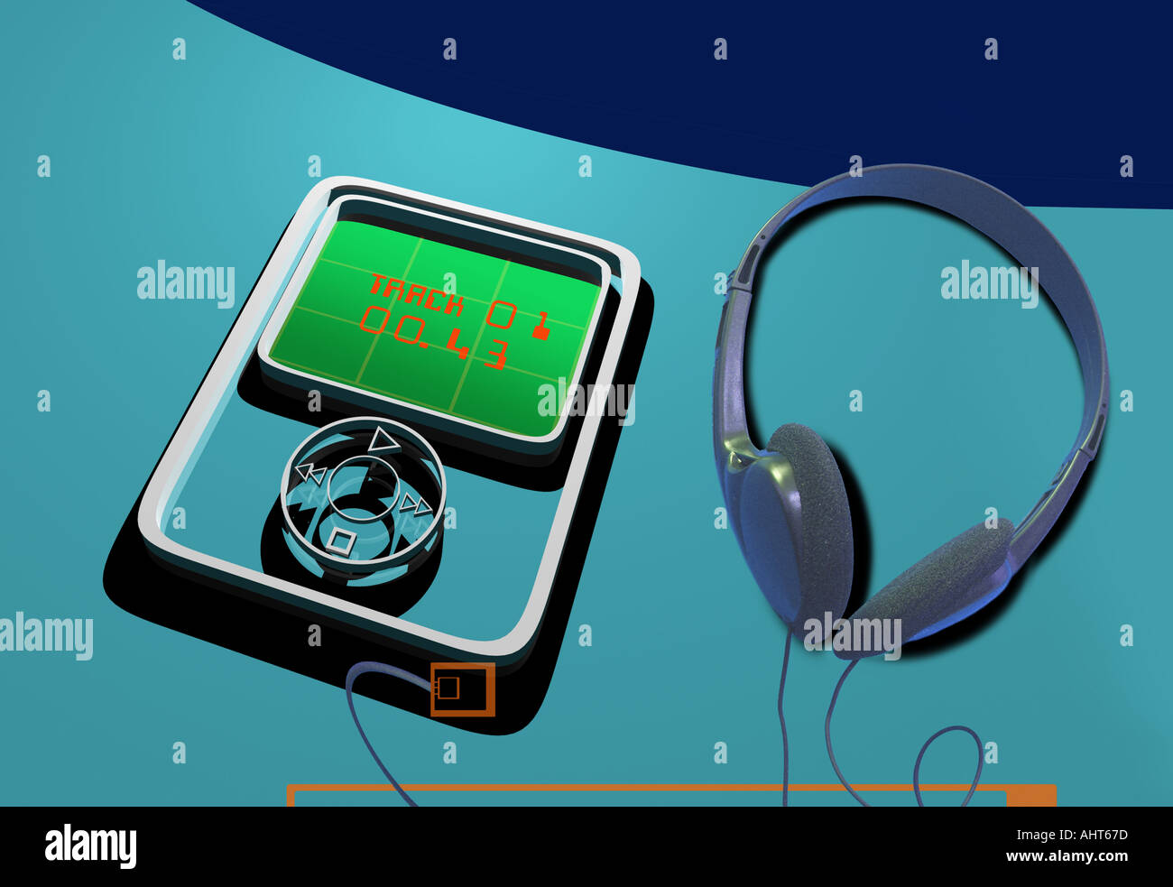 3d mp3 ipod type music player with headphones Stock Photo