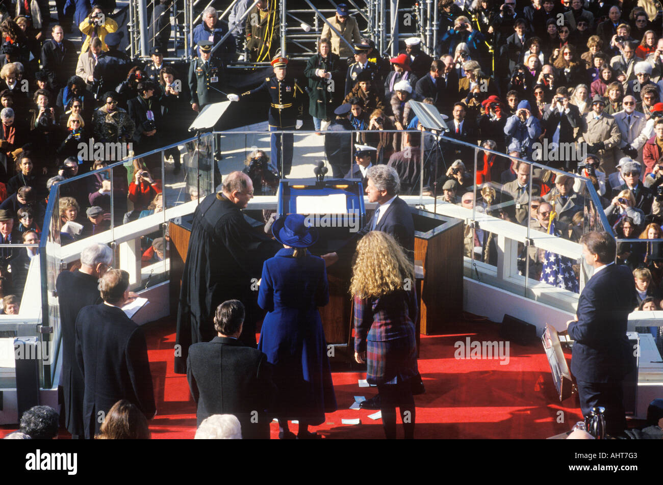 Bill Clinton 42nd President takes the Oath of Office on Inauguration Day from Chief Justice William Rehnquist on January 20 - Stock Image