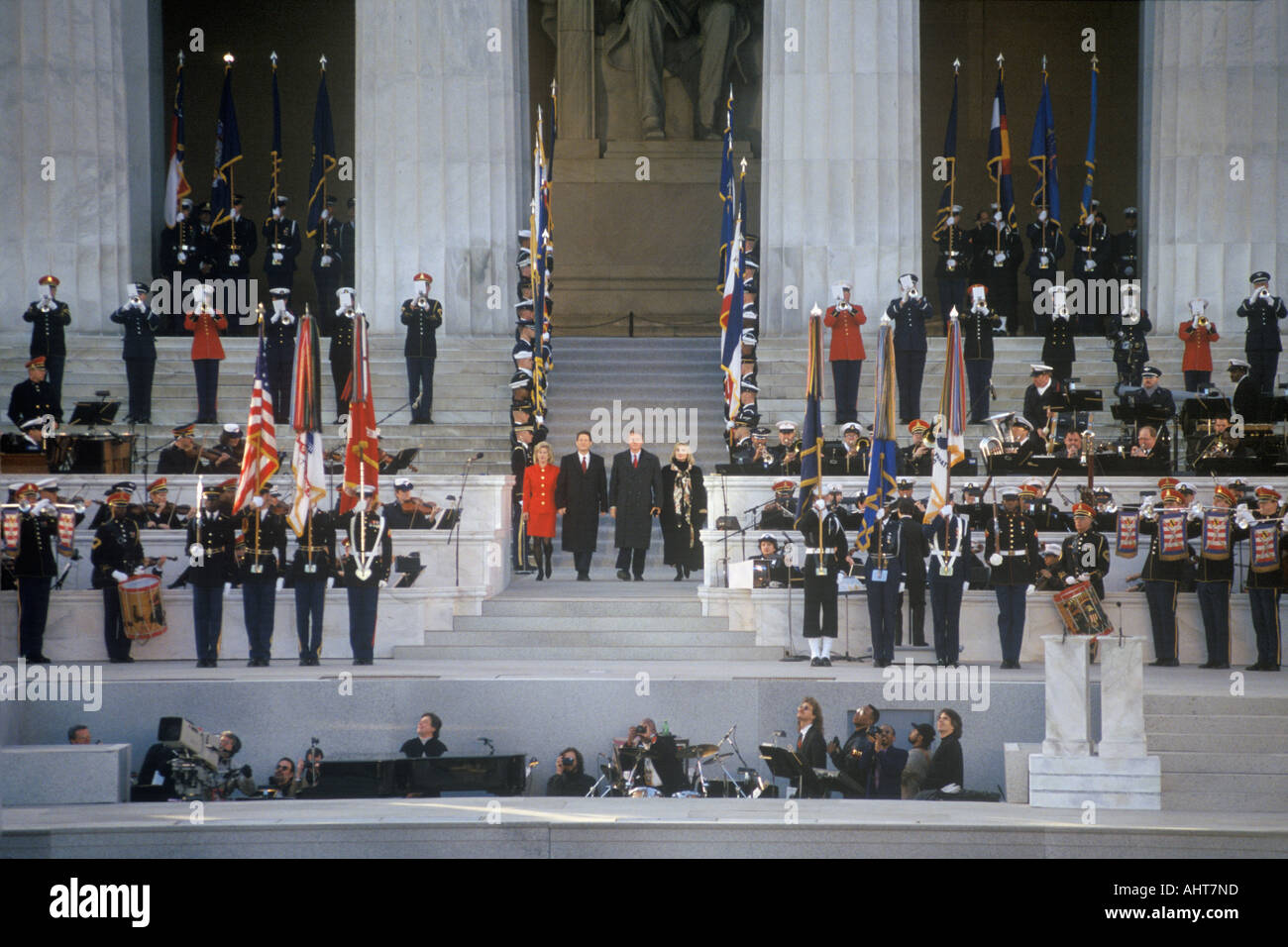 Bill Clinton 42nd President at Lincoln Memorial Opening Concert s pre Inaugural event January 17 1993 in Washington DC - Stock Image
