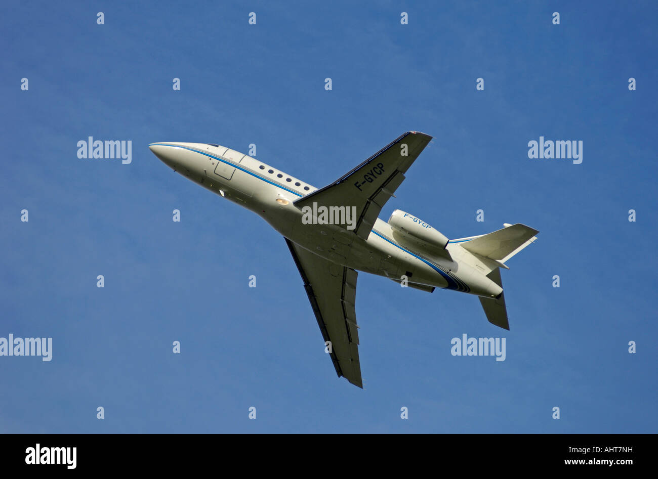Three Engined High Tail Dassault Falcon 900B F-GYCP - Stock Image