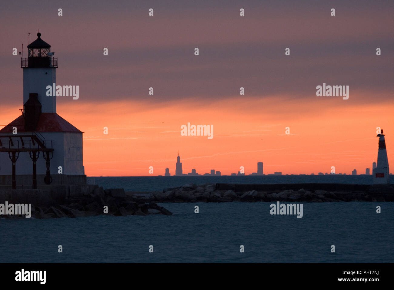 Lighthouse At Washington Park In Michigan City Indiana With Chicago Stock Photo Alamy