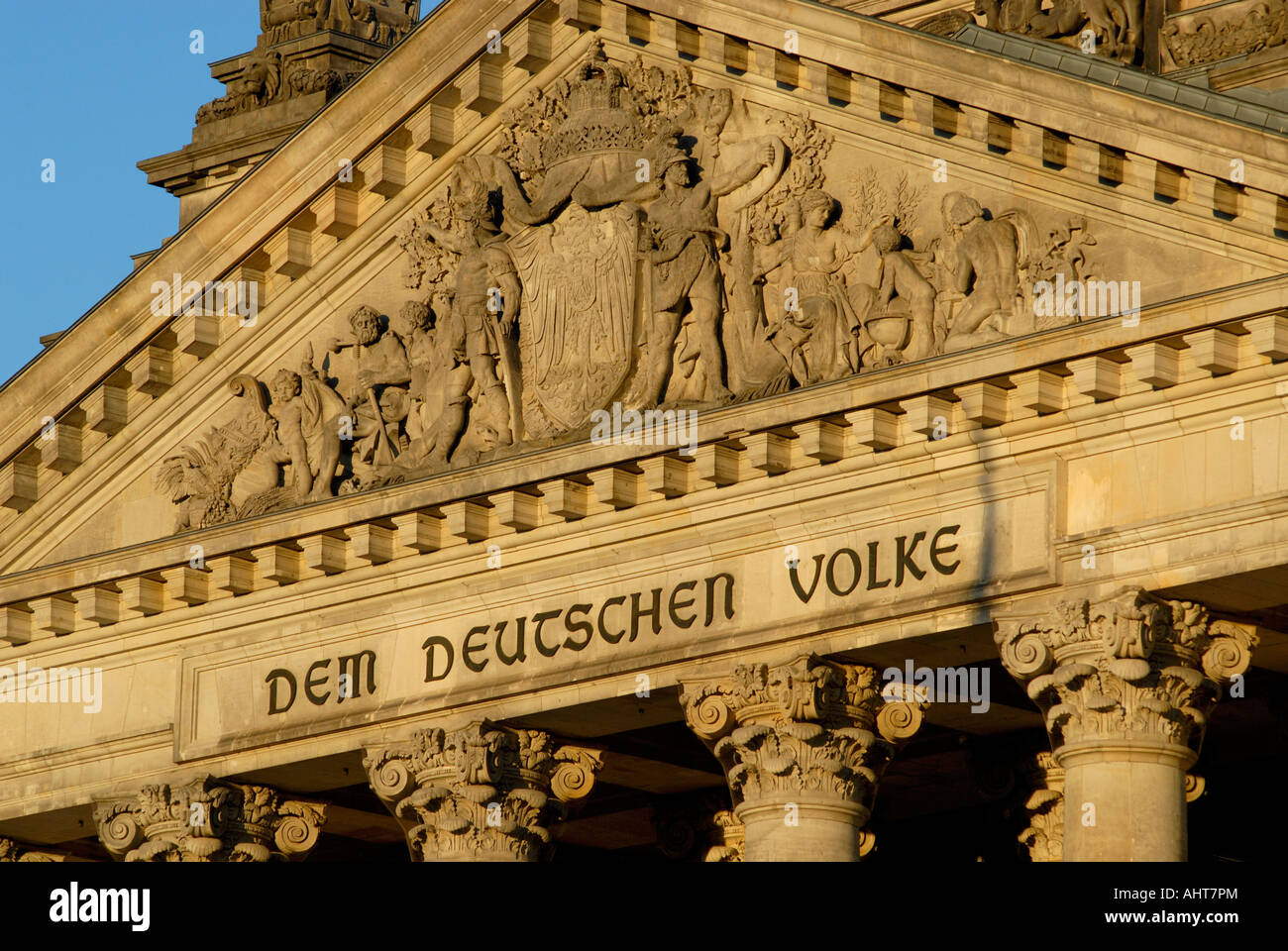 Inscription on front of Berlin Reichstag - Stock Image