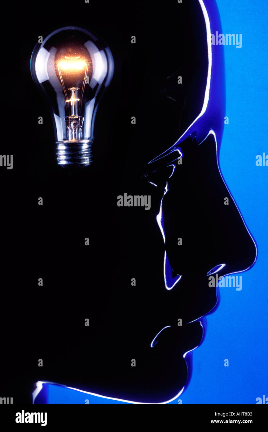 Head with light bulb - Stock Image