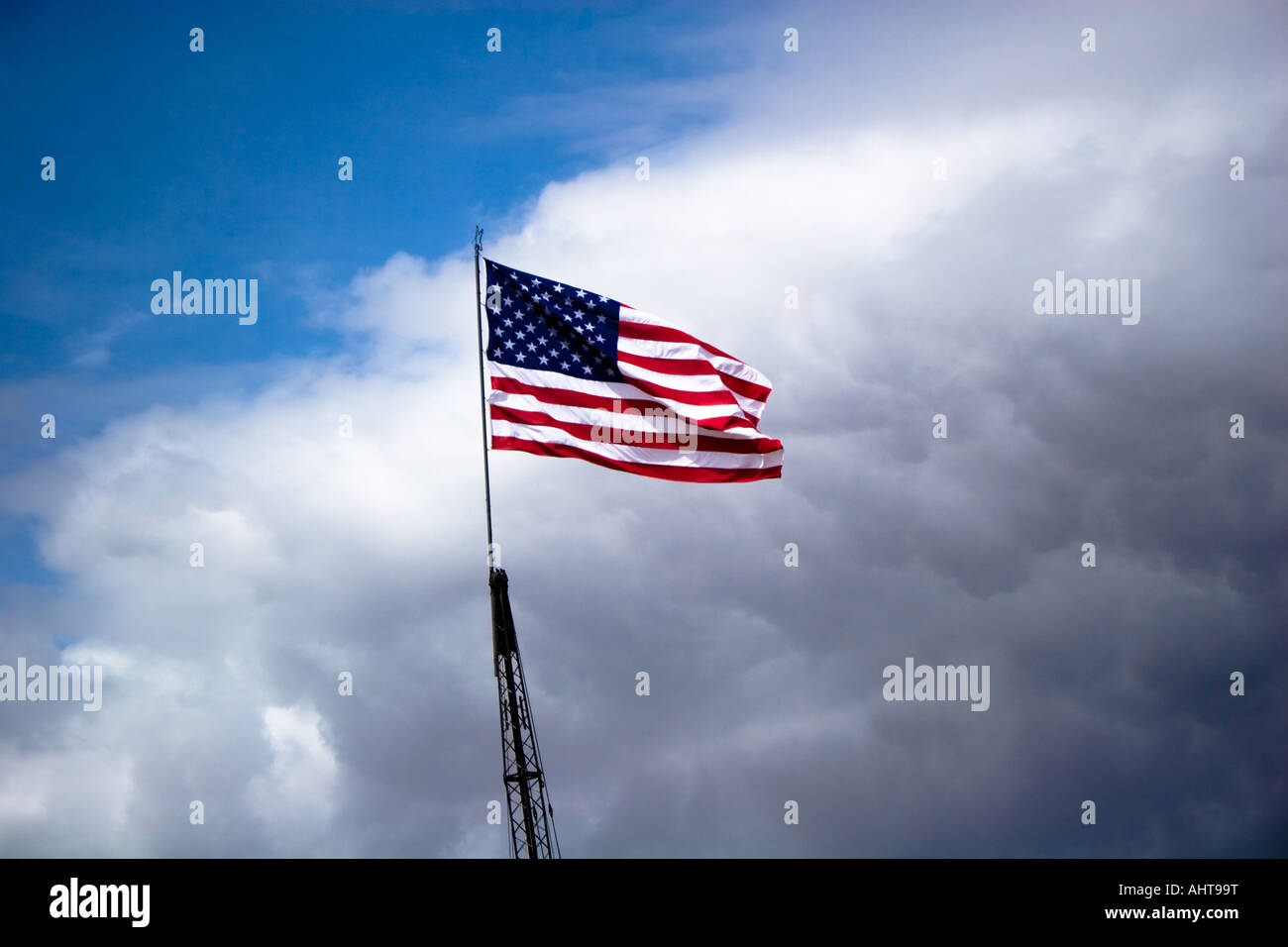 The American flag fluttering in the wind Stock Photo