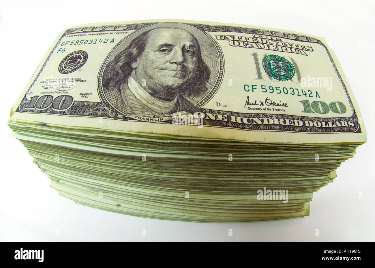 stack of 100 dollar bills - Stock Image