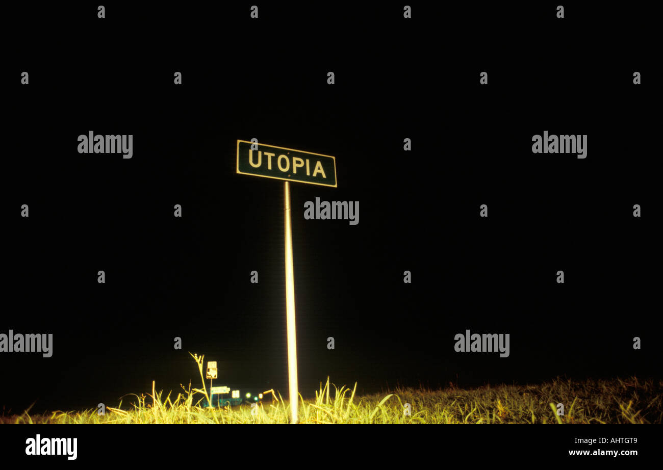 A sign for Utopia Texas - Stock Image