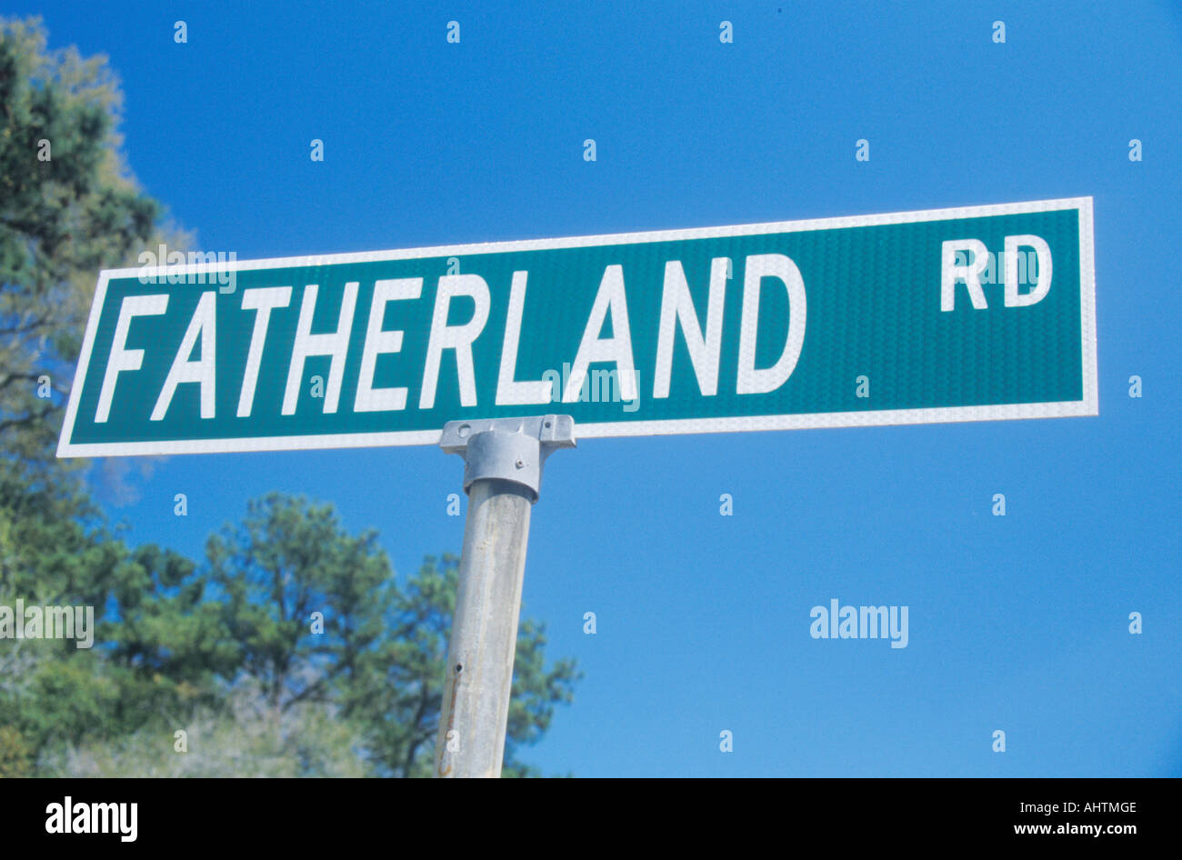 Fatherland Roadway Sign in Mississippi - Stock Image