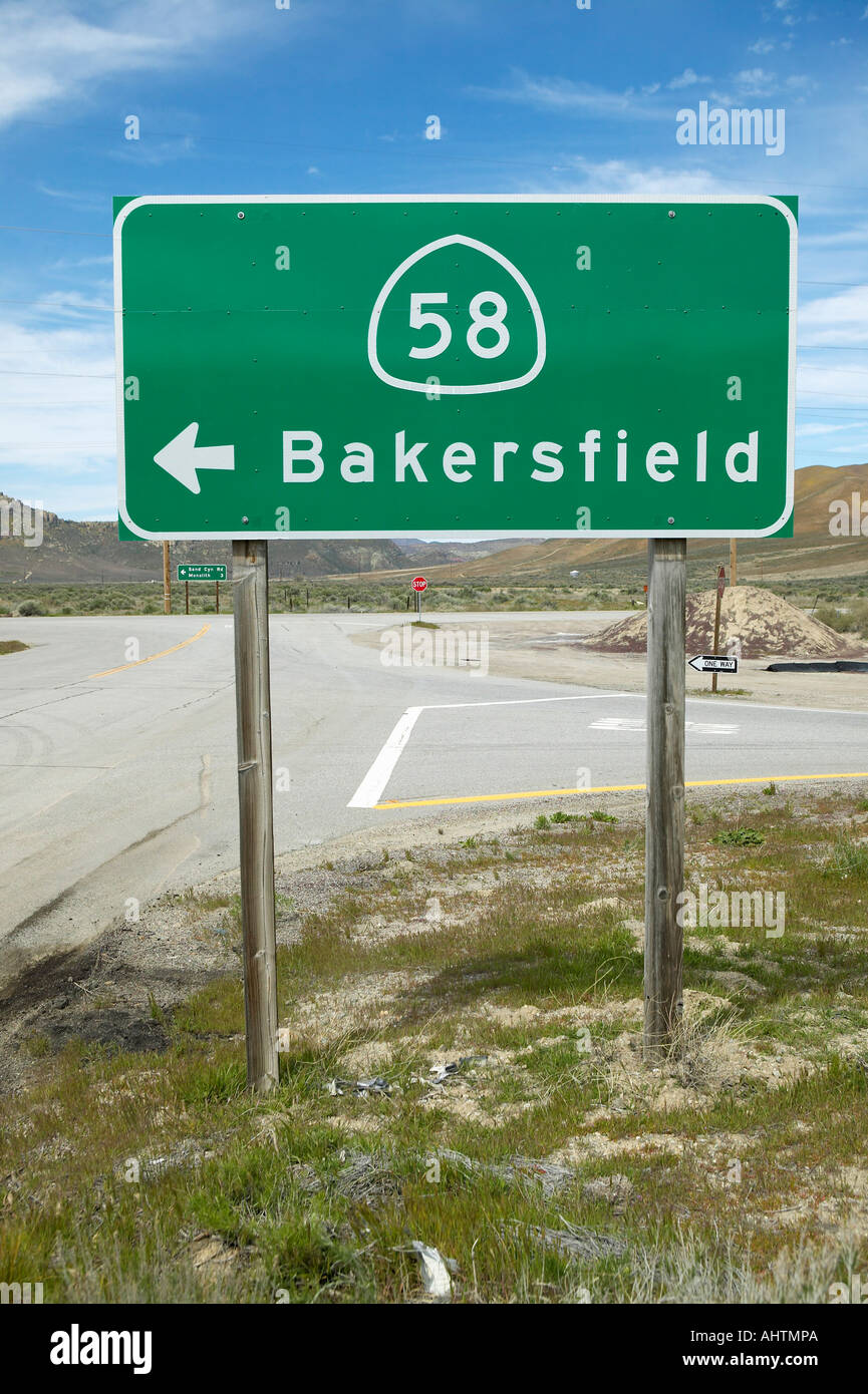 A Road Sign Near Bakersfield California Pointing To Route