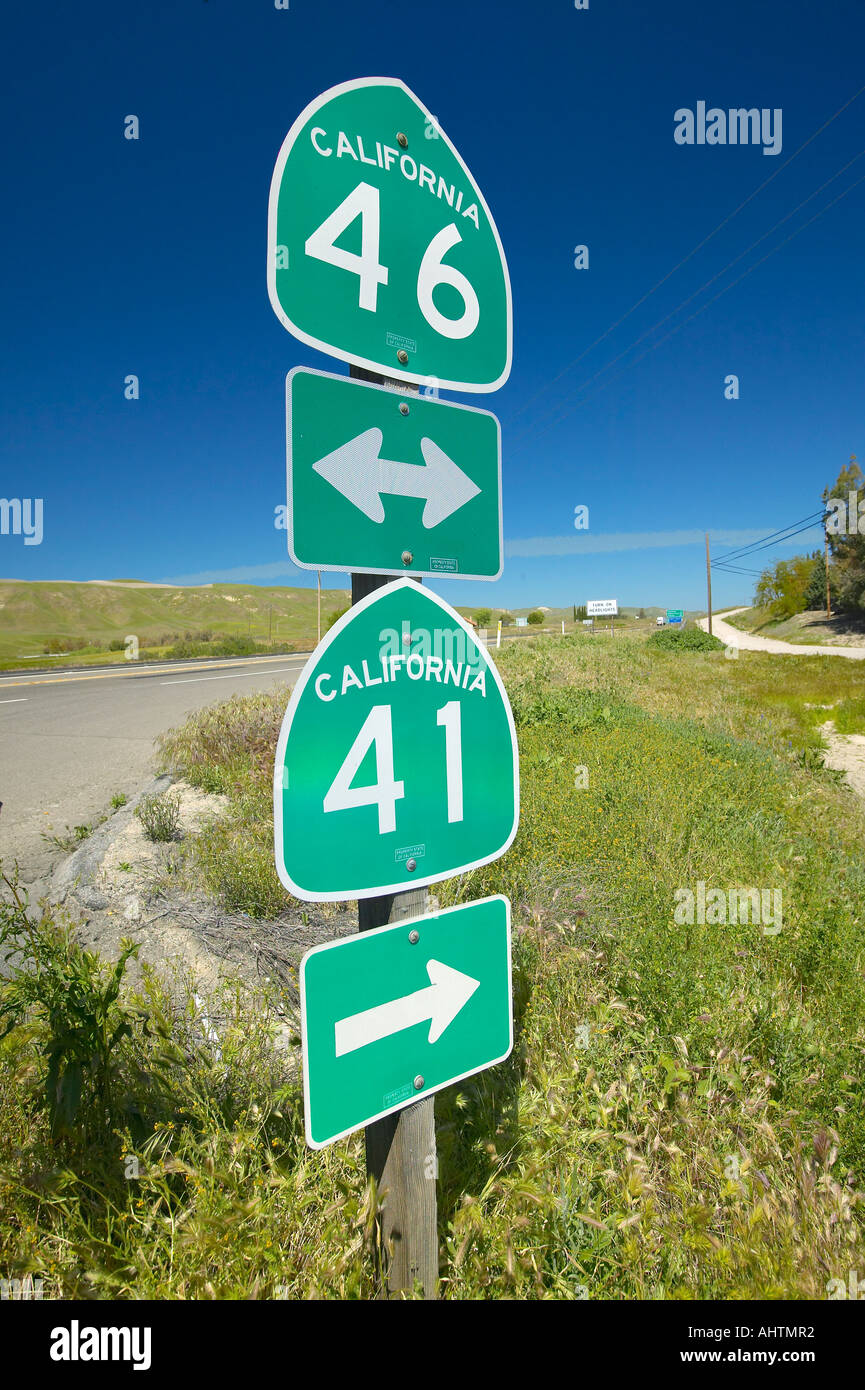 The intersection of California State Highways 46 and 41 the