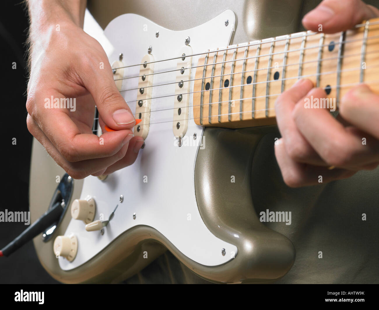 One Electric Guitar Player Close Up On Hands Stock Photo 14547006