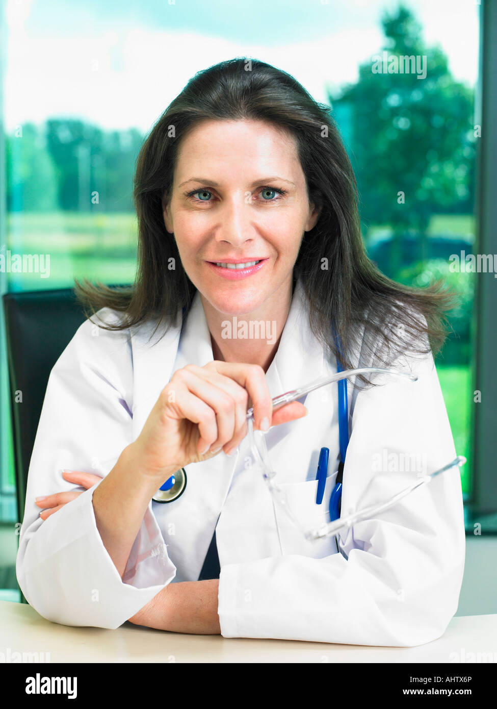 Portrait of female doctor. - Stock Image