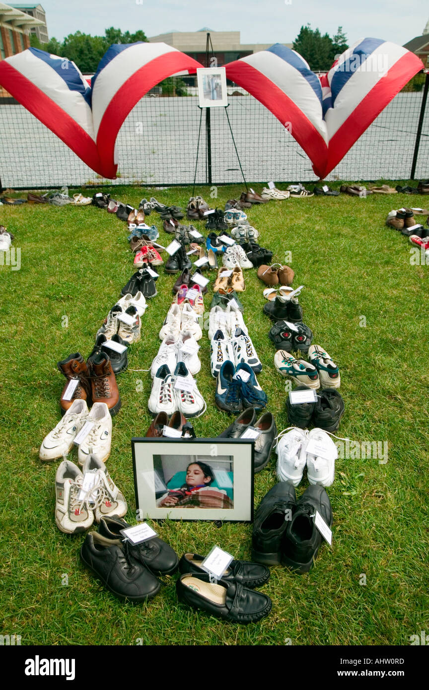 Eyes Wide Open exhibit at Independence Hall Philadelphia Pennsylvania symbolizing up to 100 000 dead Iraq citizens killed in - Stock Image