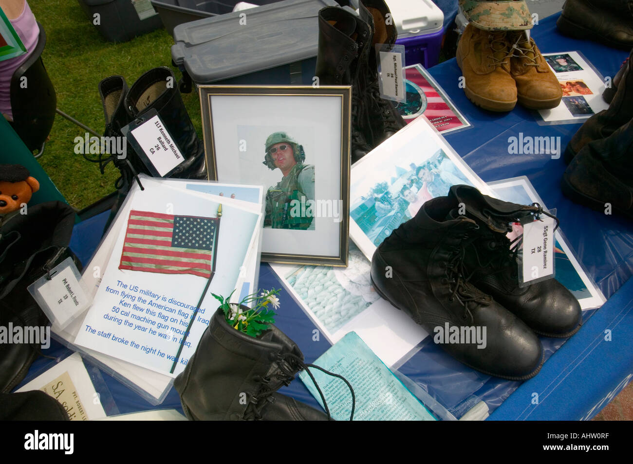 US Soldier killed as symbolized by 1746 Military boots showing US Military Personnel killed in Iraq at the Eyes Wide Open - Stock Image