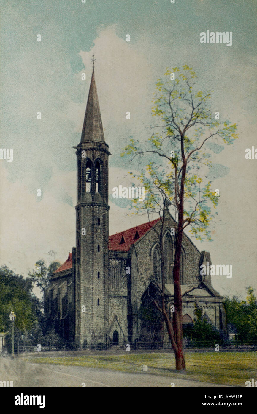 Old lithograph illustration of Indian St Pauls Church Poona pune INDIA - Stock Image