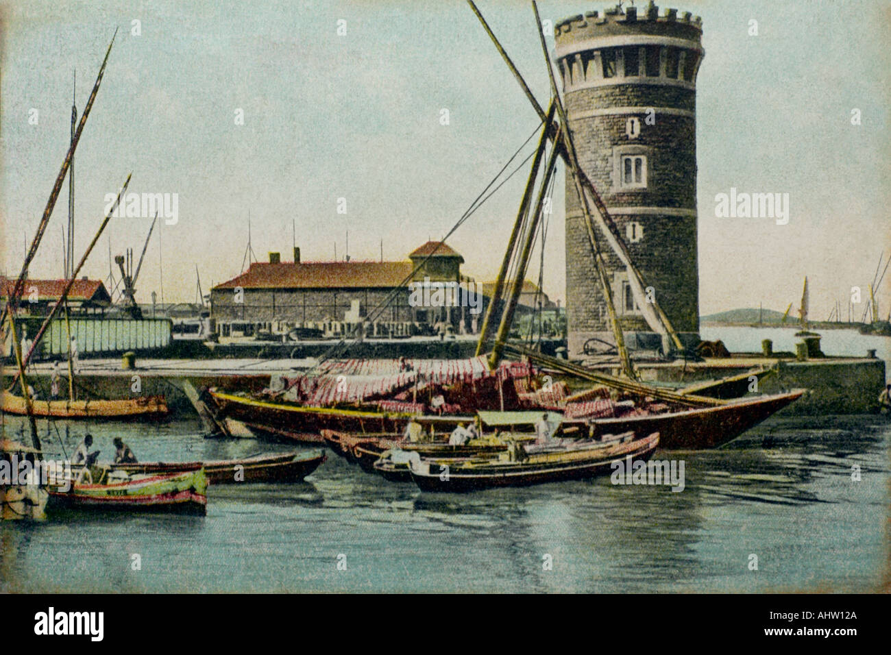 AAD 91714 Old antique vintage print of Princess Dock boats Bombay mumbai INDIA - Stock Image