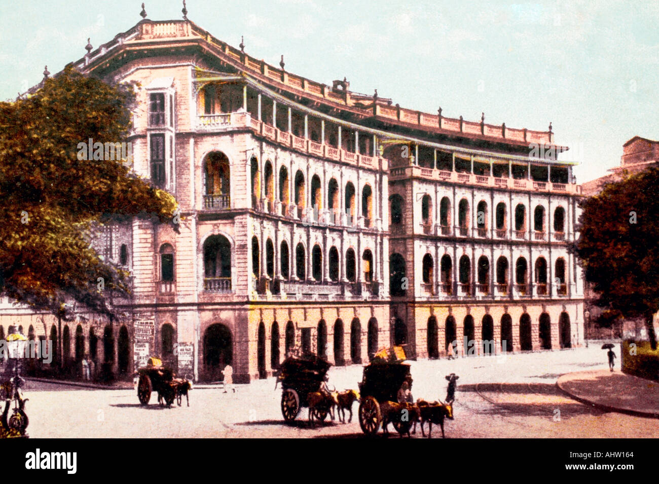 AAD 91685 Old vintage antique print of Elphinstone Circle now Horniman Circle Bombay mumbai INDIA - Stock Image