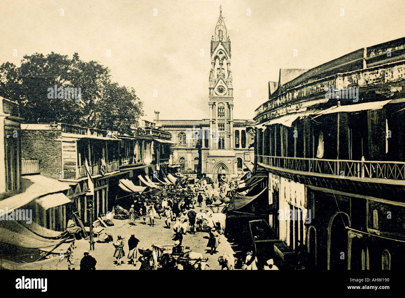 AAD 91700 Old print of Indian Clock Tower and Town Hall Chandni Chowk Delhi INDIA - Stock Image