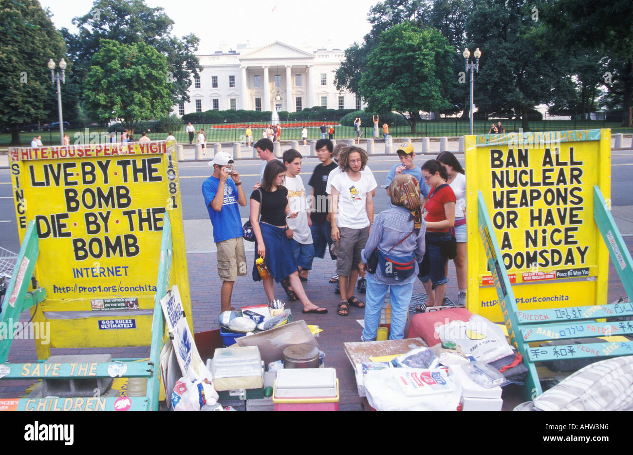 Anti Nuclear Protest in front of The White House Washington D C - Stock Image