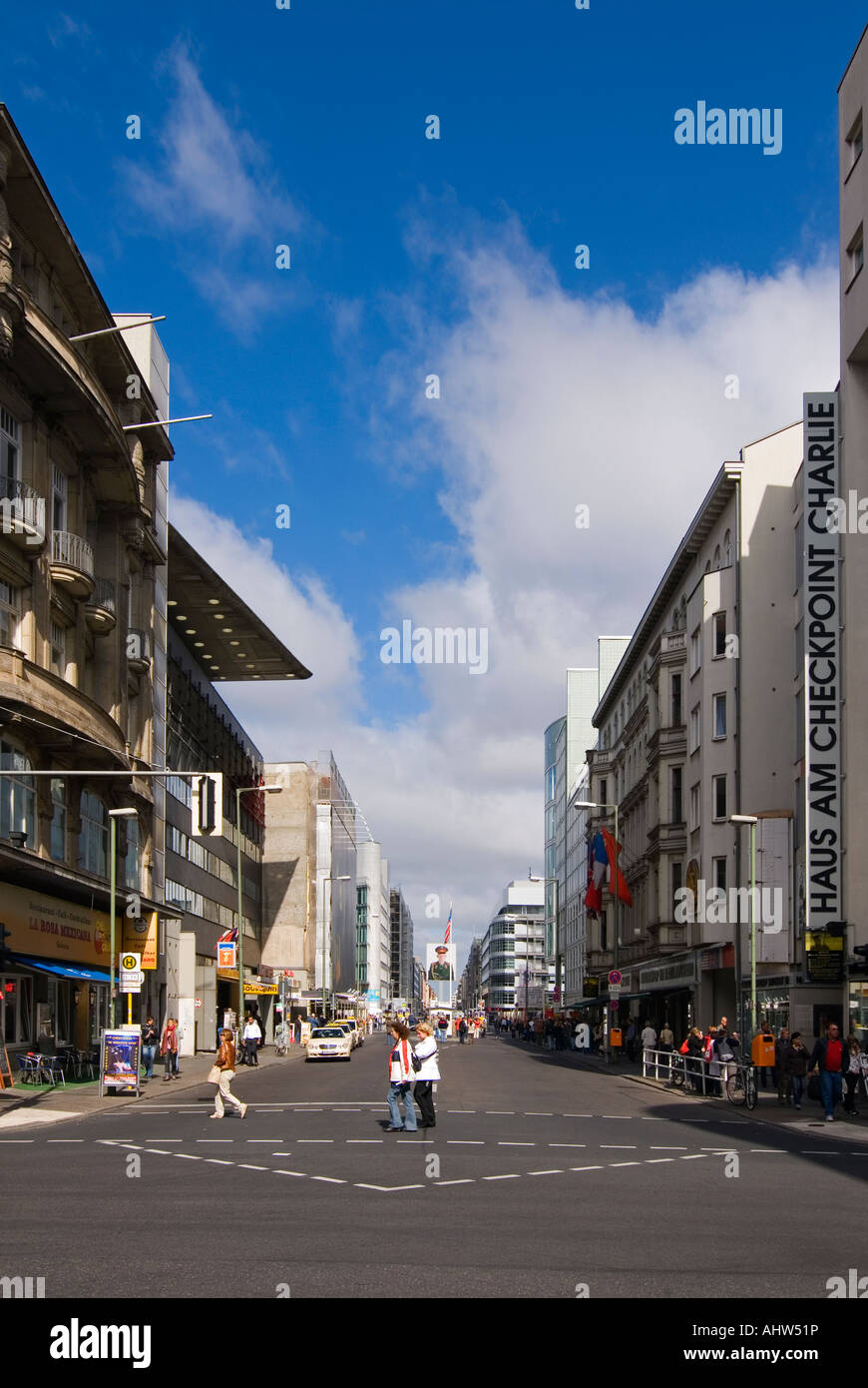 Vertical wide angle of Checkpoint Charlie, the infamous border crossing viewed from what was the American sector. Stock Photo
