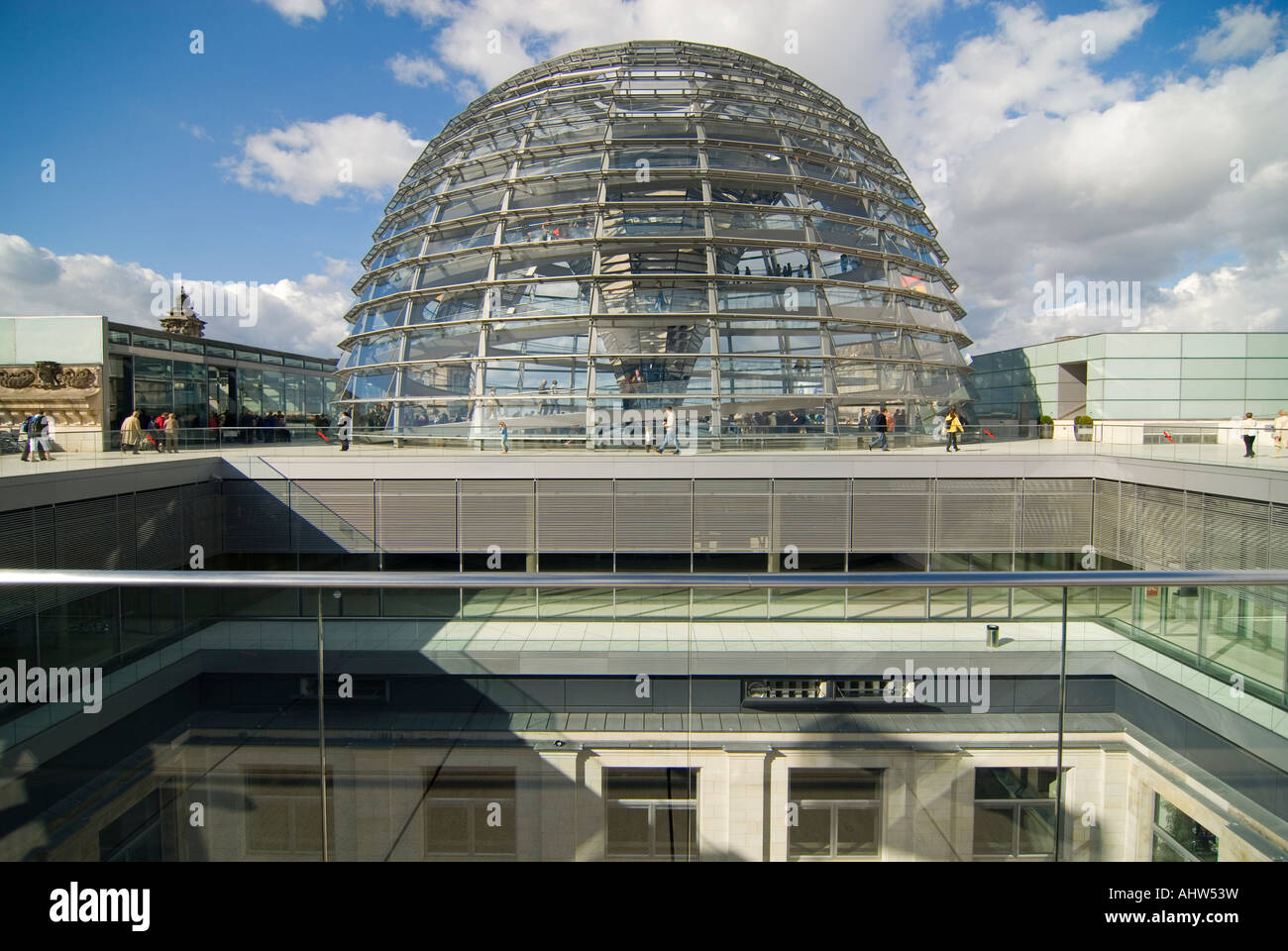Horizontal wide angle on a bright sunny day of the exterior of Sir Norman Foster's glass dome on the roof of the Stock Photo