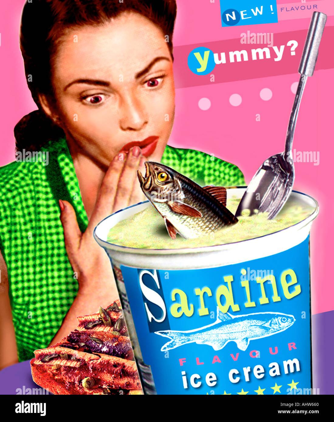 sardine ice cream - Stock Image