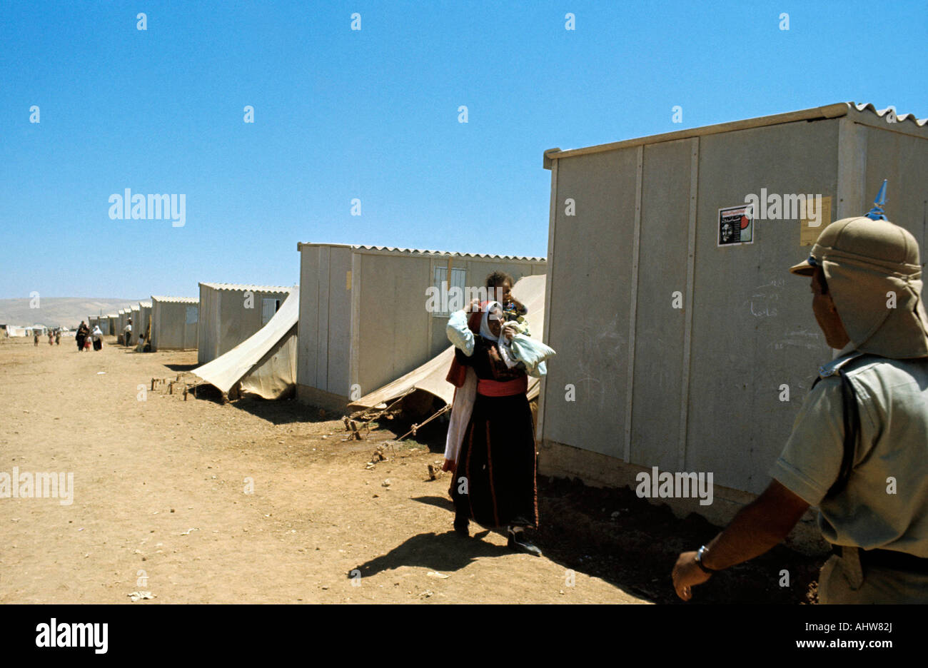 Palestinian refugee camp in Jordan Photo by Terry Fincher - Stock Image