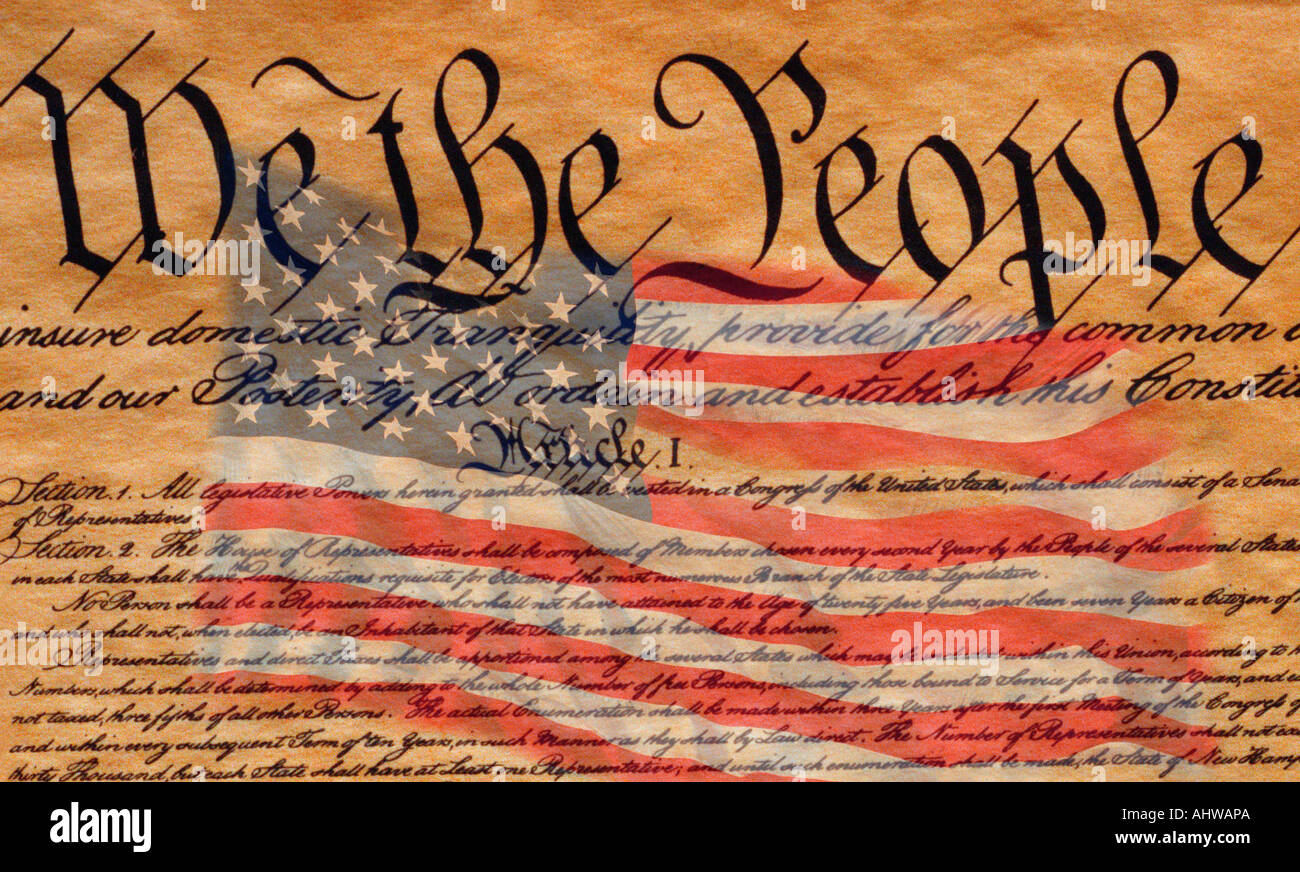 This is the preamble to the U S Constitution that starts with the words we the people An American flag is digitally composited - Stock Image